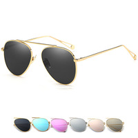 Brand Designer 2016 New Round Men Or Women Fashion Mirror Sunglasses Luxury Pink Shades Lady UV400