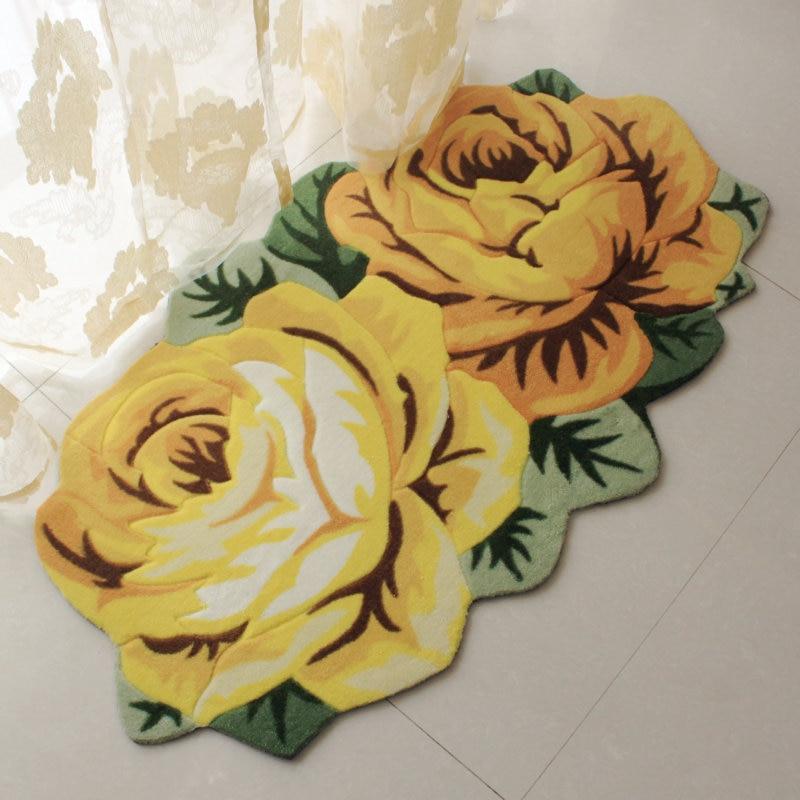 70cm 120cm 2 Rose Carpet Floor Mat Color Printing Rug Flower Rug Kitchen Area Rugs Modern