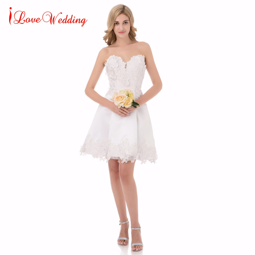 Short Wedding Dresses 2019 Sweetheart Lace Applique Above Knee Short Bridal Wedding Gown Vestido De Novia