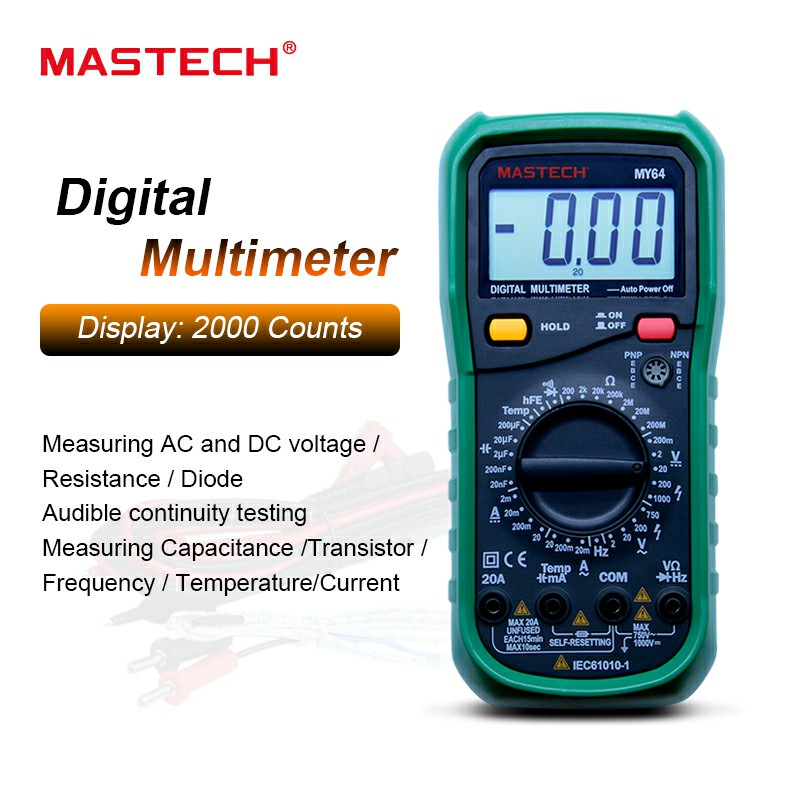 MASTECH MY64 Digital Multimeter AC/DC DMM Frequency Capacitance Temperature Meter Tester w/ hFE Test Ammeter Multimetro new ms8221c digital multimeter auto manual ranging dmm temperature capacitance hfe tester