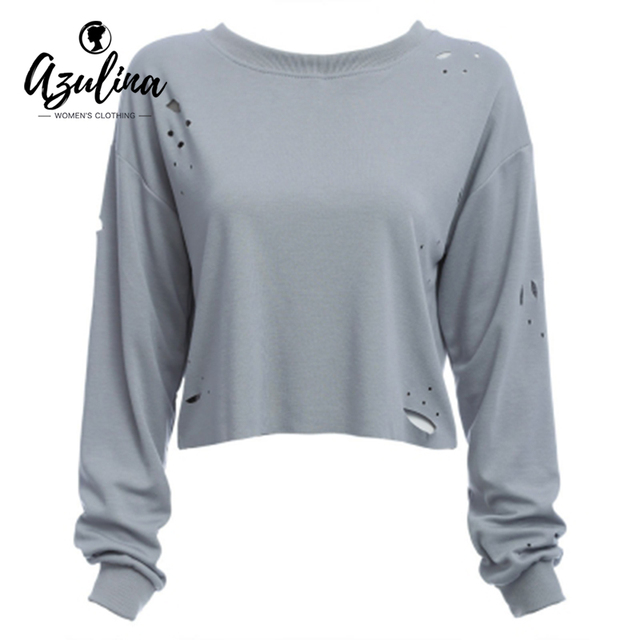 AZULINA Casual Women T-shirt Long Sleeve Autumn Spring O Neck White Grey T Tee Shirt Femme Hole Crop Top Streetwear Women Tops