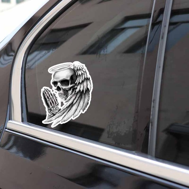 7CM ANGEL OF DEATH SKULL STICKERS