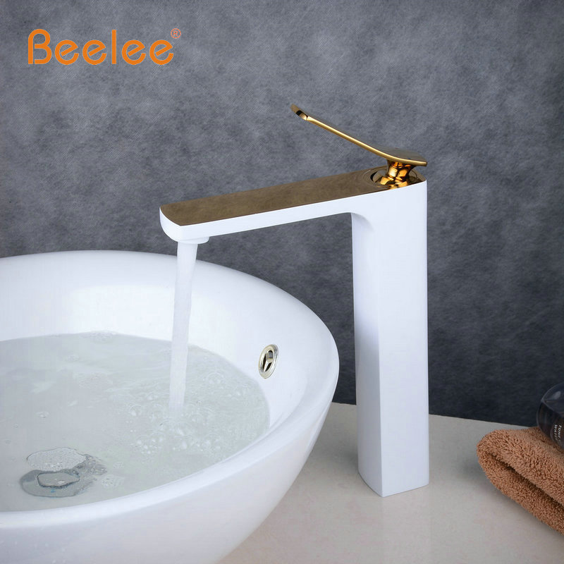 New Arrival Tap Mixer Torneira Bathroom Tapware Vanity Basin Faucet White Baked Faucet With Golden Finish Hot&Cold Water ...