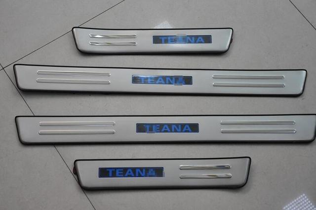 Auto inner Door sill plate scuff plate  LED  for Nissan Teana   2013, 4pcs/lot,stainless steel