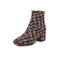 Winter Newest Hot Shoes Woman Vogue Europe And The United States Style Boots Embroidered Coarse Heel