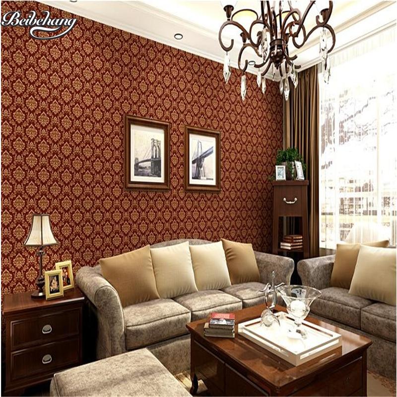 US $22.79 47% OFF|Beibehang Continental Tapete Damaskus wohnzimmer  schlafzimmer tapete warmen romantische 3D stereo flut TV hintergrund wand  off-in ...