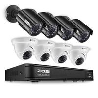 Nuevo ZOSI 8CH CCTV sistema 720 P HDMI TVI CCTV DVR 4 piezas 1.0MP HD IR visión nocturna al aire libre seguridad de la casa kit de sistema de vigilancia de cámara