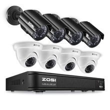 ZOSI 8CH CCTV System 720P HDMI TVI CCTV DVR 4PCS 1.0MP HD IR Night Vision Outdoor Home Security Camera Surveillance System Kit