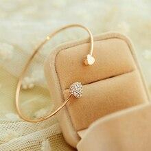 Новая мода регулируемое Хрустальное Двойное сердце бант билезик размер браслета-манжеты браслет, женская бижутерия подарок Mujer Pulseras подарки