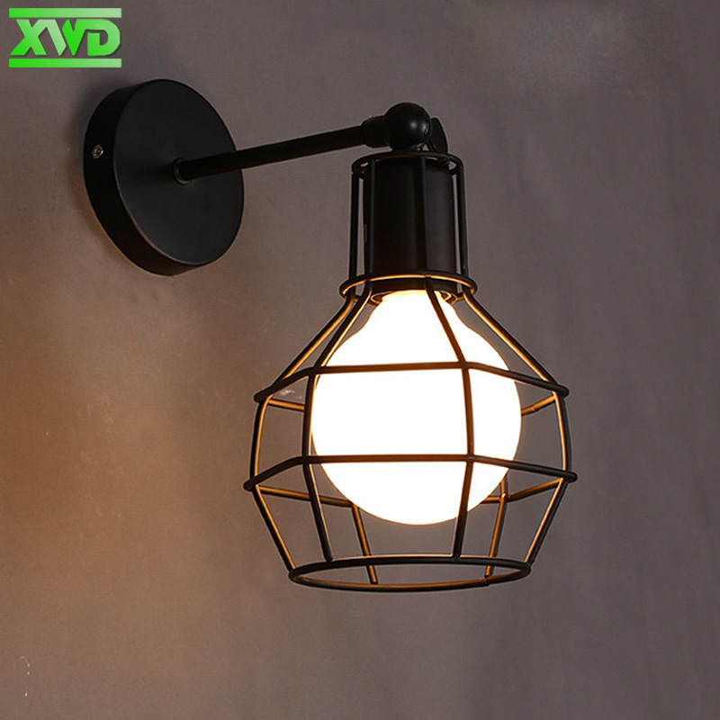 Vintage Painted Iron Wall Lamp E27 Lamp Holder Coffee House/Dining Hall/Foyer/Shop American Indoor Lighting 110-240V