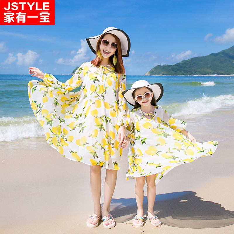 nonball 222 Store New family summer look fashion Bohemian clothing casual Chiffon floral beach Womens girls matching mother and daughter dresses
