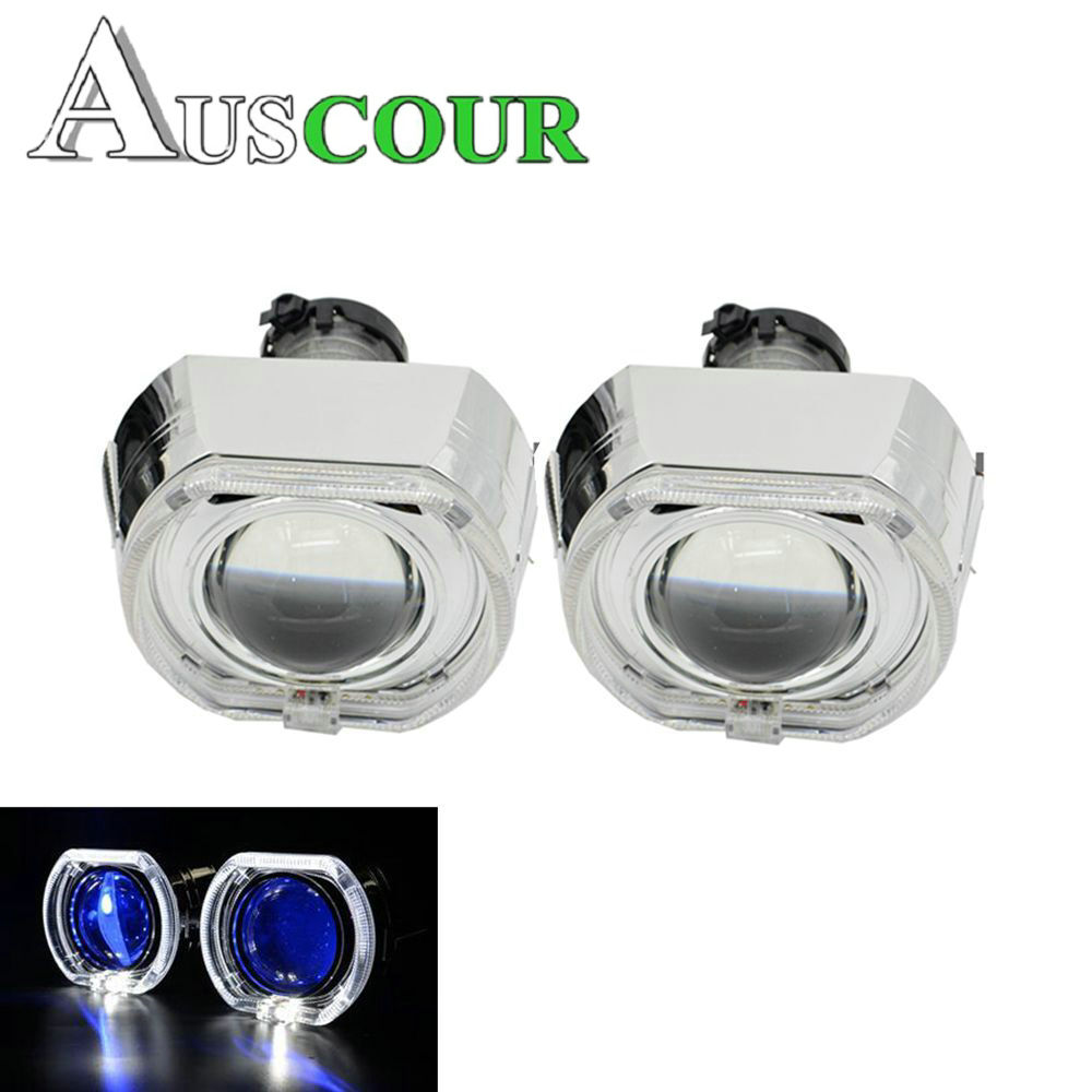 2pcs 3.0 inch hella 5 Bixenon hid Projector lens with DRL square angel eyes white led day running headlight retrofit modify d2s 2 5inch bixenon projector lens with drl day running angel eyes angel eyes hid xenon kit h1 h4 h7 hid projector lens headlight