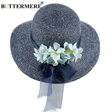 BUTTERMERE Women Sun Hats Navy Blue Straw Beach Hat With A Wide Brim Female Flower Uv Protection Ladies Summer Bucket Caps