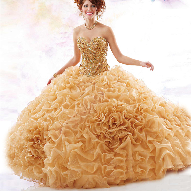 Doce 16 Dresses 2017 Luxuoso Ouro Vestidos Quinceanera Vestidos de Baile Querida Cristal Ruffles Beading Vestidos De 15 Anos