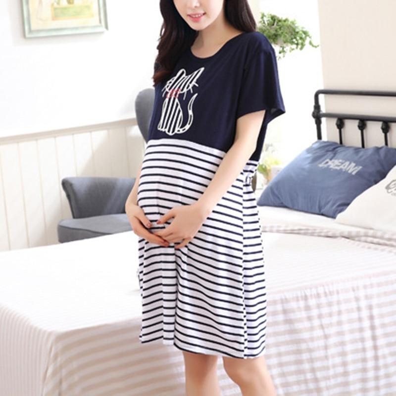 Summer Pregnant Women Nursing Dress Short Sleeve Striped Patchwork Casual Maternity Dresses S7JN недорго, оригинальная цена