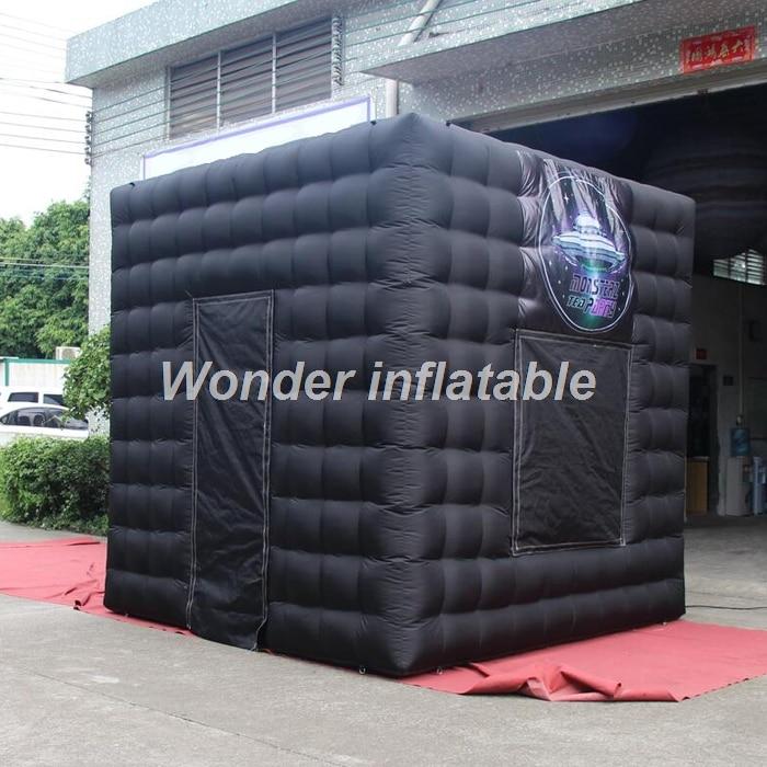 La cabine de photo gonflable portative noire du kiosque 3d de cabine de photo de 3 m a mené la tente gonflable de cube pour des mariages