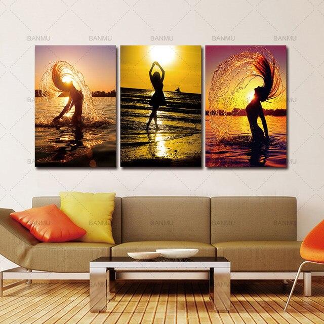 5 piece canvas art sunset beach nude women oil painting home decor rh aliexpress com canvas art prints for living room living room canvas art ideas