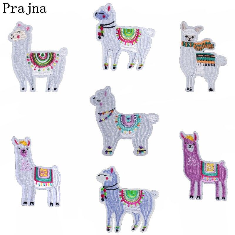 Prajna Cartoon Mens Alpaca Patches For Clothing Kids Alpaca Costume Embroidered Iron On Cute Applique Patch T-shirt DIY Apparel