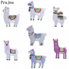 Prajna Cartoon Mens Alpaca Patches For Clothing Kids Costume Embroidered Iron On Cute Applique Patch T-shirt DIY Apparel