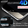 LEWEI 3D Curved Edge Round Full Coverage 4D Tempered Glass COLD CARVING Screen Protector Film for iPhone 7 6 6s Plus