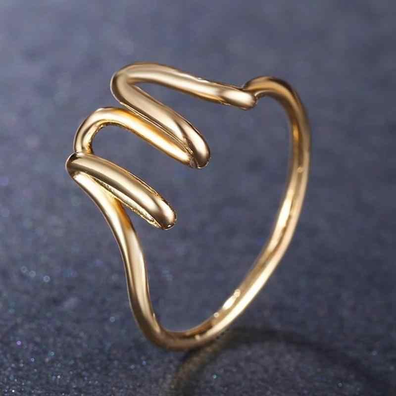 26-מכתב טבעת az מלא-מכתב אופנה גבירותיי רוז זהב מכתב טבעת עבור נשים גברים גיאומטרי סגסוגת אצבע טבעת תכשיטי חל