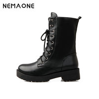 2014 Martin Boots Ankle Boots Women Shoes Flat Round Toe Motorcycle Boots Combat Boots Large Size