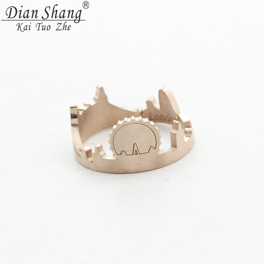 DIANSHANGKAITUOZHE Female Stainless Steel London Skyline City Open Band Ring For Women Party Jewelry Draw Attention Ring Gold