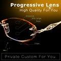 Coincidir com Lente Progressiva Leitura De Dioptria Óculos Sem Aro Marca de Alta Qualidade Mulheres Rhinestone Ouro Prescrição Óptica Óculos