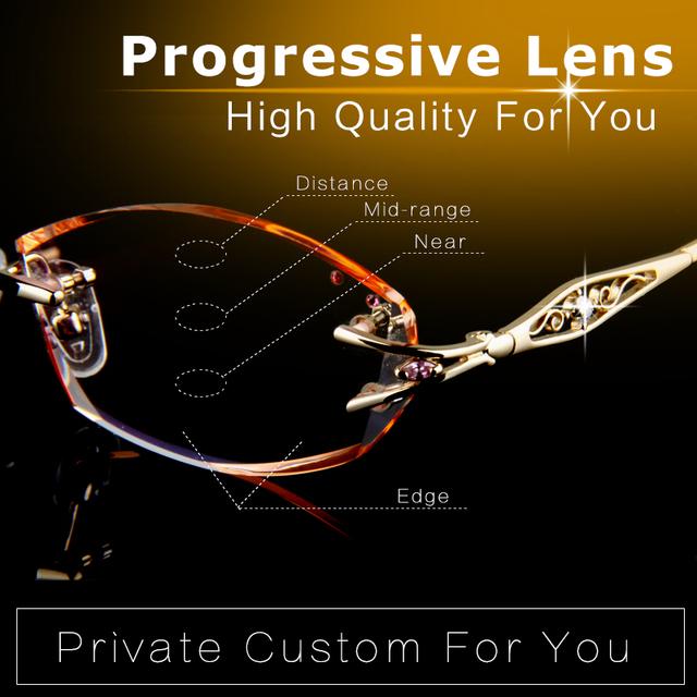 Partido Progresista Lente de Alta Calidad Mujeres Gafas de Lectura Dioptrías Marca Sin Montura de diamantes de Imitación de Oro Óptico Anteojos Recetados