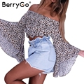 BerryGo Off shoulder leopard blouse shirt Sexy flare sleeve chiffon soft femme blouse Summer beach blusas women tops