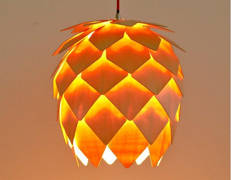 Modern Art Wooden Pinecone Pendant