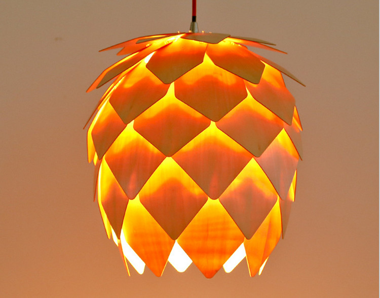 modern art wooden pinecone pendant lights home restaurant hanging pine cone wood pendant lamps home decorative