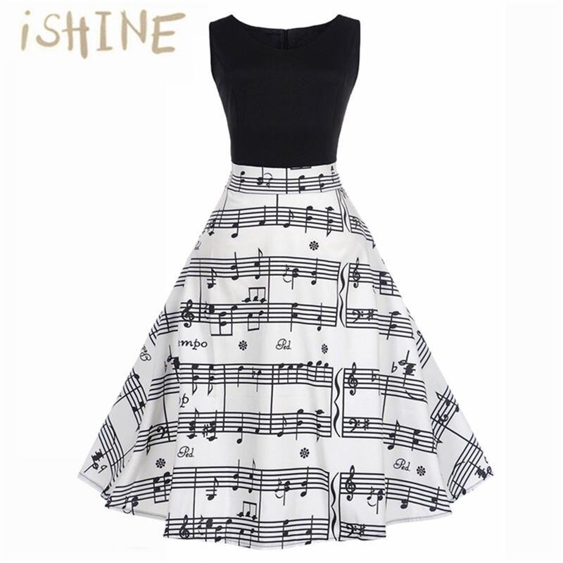 6bf4e9e67e8 Ishine 2017 Fashoin Винтаж принт Высокая Талия Чай летнее платье Для женщин  ретро 50 s 60