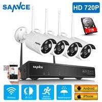 SANNCE Беспроводная система видеонаблюдения 720 P 1 ТБ HDD 4CH NVR IP IR-CUT наружная ip-камера видеонаблюдения Система видеонаблюдения комплект видеонаб...