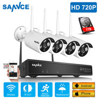 SANNCE Wireless CCTV System 720P 1TB HDD 4CH NVR IP IR CUT outdoor CCTV Camera IP Security System video Surveillance Kit