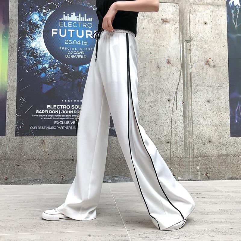Real shot high waist white straight   wide     leg     pants   2019 summer new fashion drape feel chiffon loose casual   pants