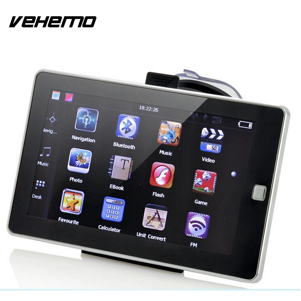 купить Vehemo GPS Navigator 8GB 7Inch Capacitive Touch Built-In Free Map 800MHZ TFT LCD Automobile Video FM Radio Audio E-Book недорого