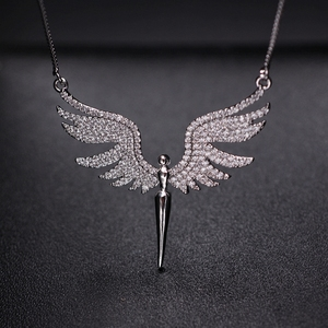 Image 2 - Charm Angel Wing Pendant Necklace For Women Full Micro Cubic Zirconia Paved 2019 Fashion Gold Color& Silver Color Angel Necklace