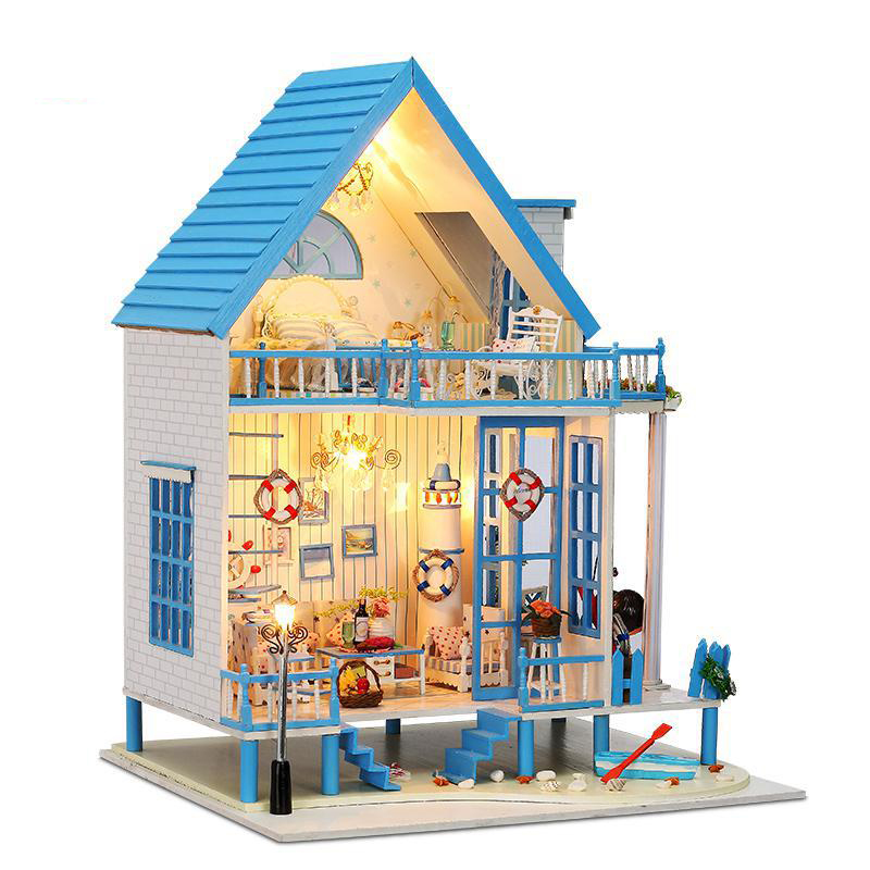 ФОТО Kids toy DIY Doll House large Wooden Dollhouse 3D Miniature Model Kit   Furniture  toys for children gift 13011
