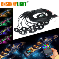 CNSUNNYLIGHT Boat Yacht Deck RGB LED Rock Lights Underwater Bluetooth Controller Multicolor LED Kit for Ship Music Sound Flasher
