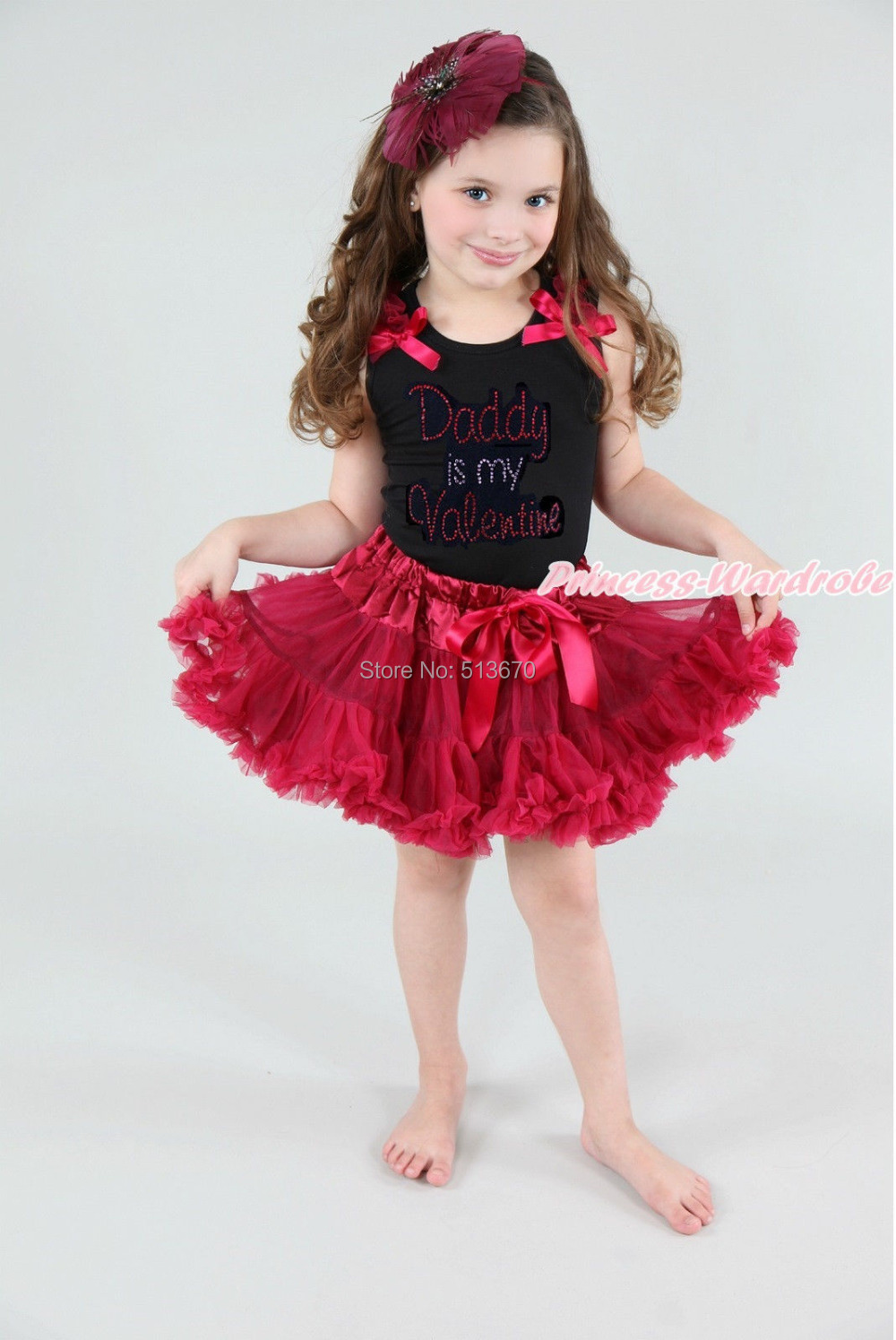 Rhinestone Daddy Is Valentine Black Pettitop Raspberry Wine Red Pettiskirt 1-8Y MAPSA0156 xmas red orange yellow black roses brown top baby girl pettiskirt outfit 1 8y mapsa0038