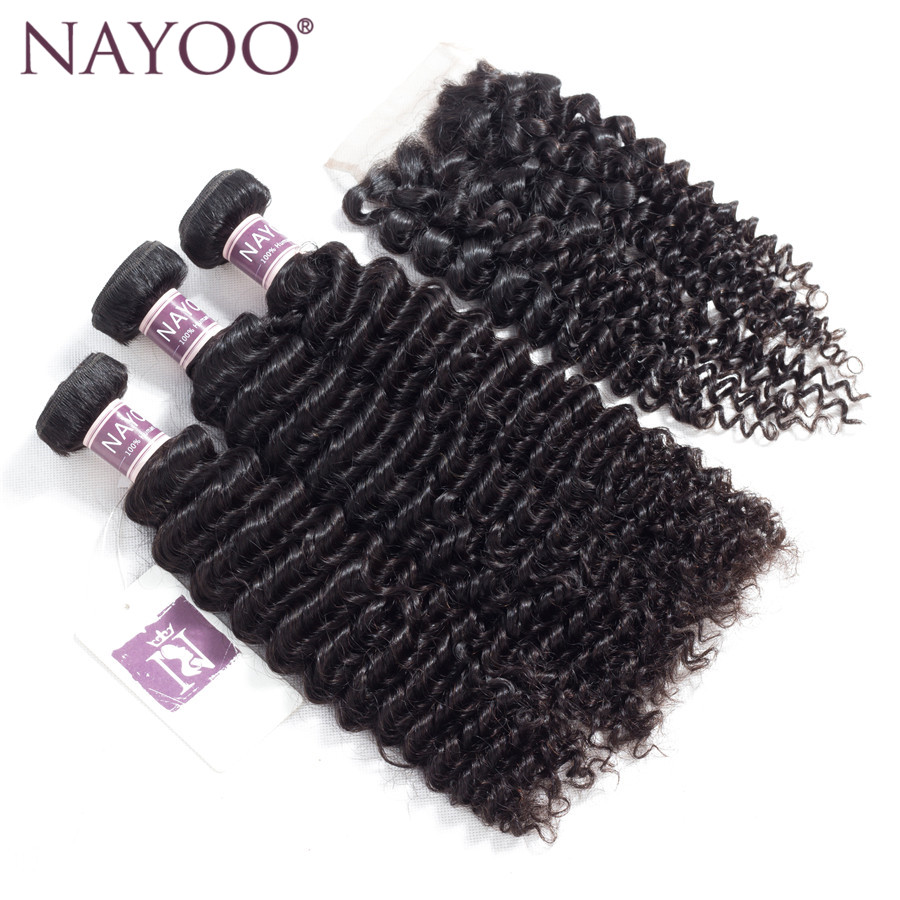 NAYOO Hair 4 PCS/LOT Indian Curly Hair 3 Bundles With Closure Free Part 100% Human Hair Closure 100% Hand Tied Non Remy Hair