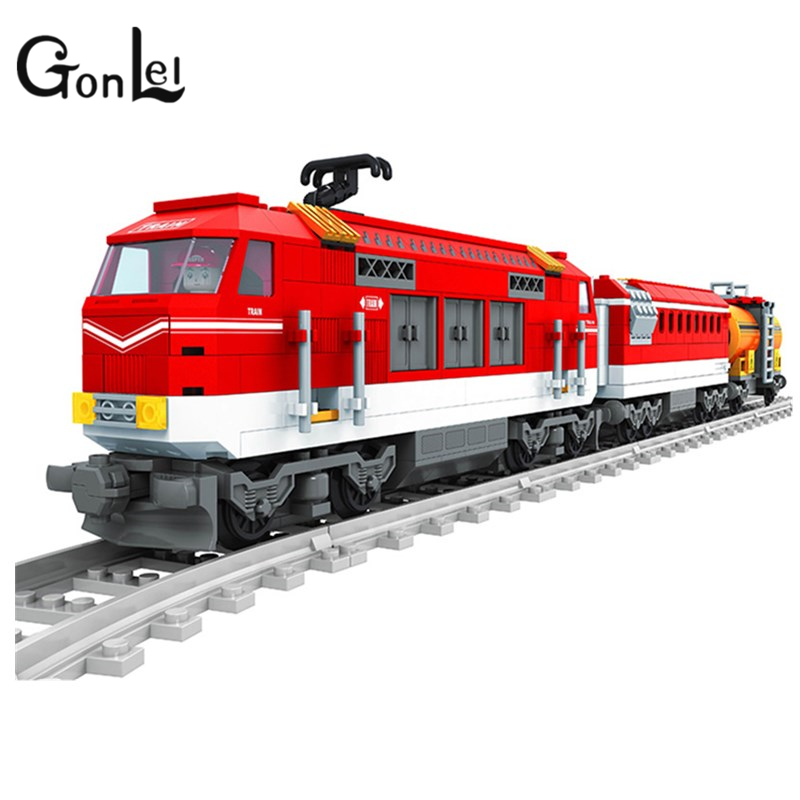 GonLeI 588pcs City Series Train with Tracks Building Blocks Railroad Conveyance Kids Model Bricks Toys lepin Compatible 25807 gonlei toys for children building blocks rail tracks for train straight