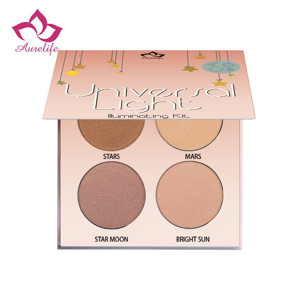 Aurelife 4 color Shimmer Glow Contour Kit Illuminating Makeup Cosmetics Nude Powder Drop Shipping хайлайтер nyx professional makeup duo chromatic illuminating powder 01 цвет dcip01 twilight tint variant hex name d7dae1