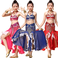 Tops+Dress+Belt Sequined Girls Belly Dance Costume Bollywood Indian dancing Dress Party Stage Girls Ballroom Performance dancing