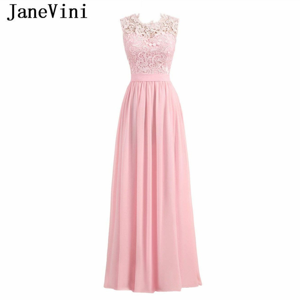 JaneVini Elegant Pink Chiffon Long   Bridesmaid     Dresses   for Women A Line Sleeveless Zipper Back Floor Length Guest Wedding   Dress