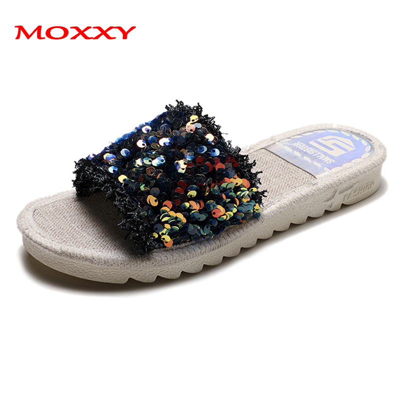 2019 New Luxury Rhineston Slippers Women Summer Indoor Outdoor Home Slippers Women Flat Beach Slides Flip Flops zapatos de mujer in Slippers from Shoes