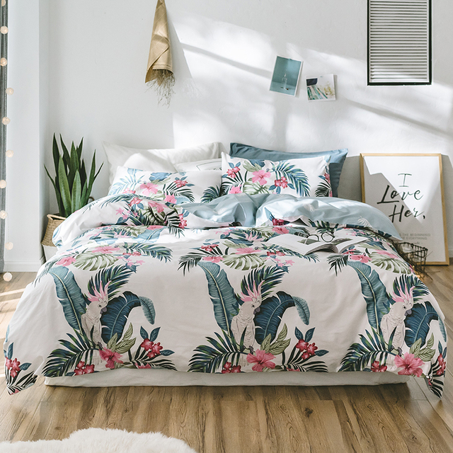 Papa Mima Tropical Style Bedding Set Flowers And Birds Print 100 Cotton Queen Twin Size Duvet