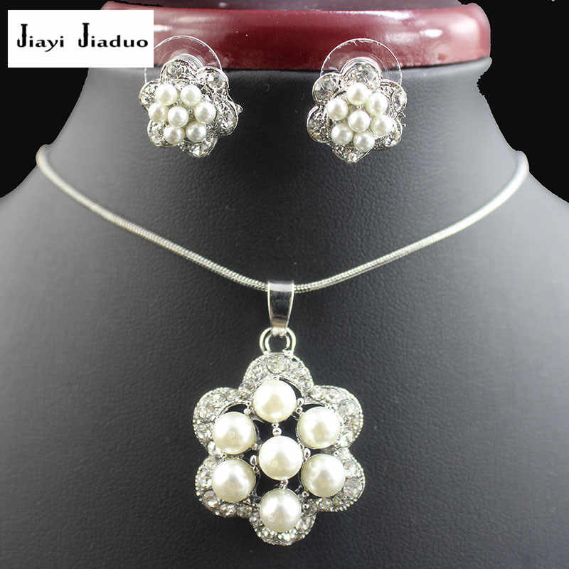 jiayijiaduo Fashion imitation pearl pendant jewelry set for women white color necklace earrings party clothing accessories gift