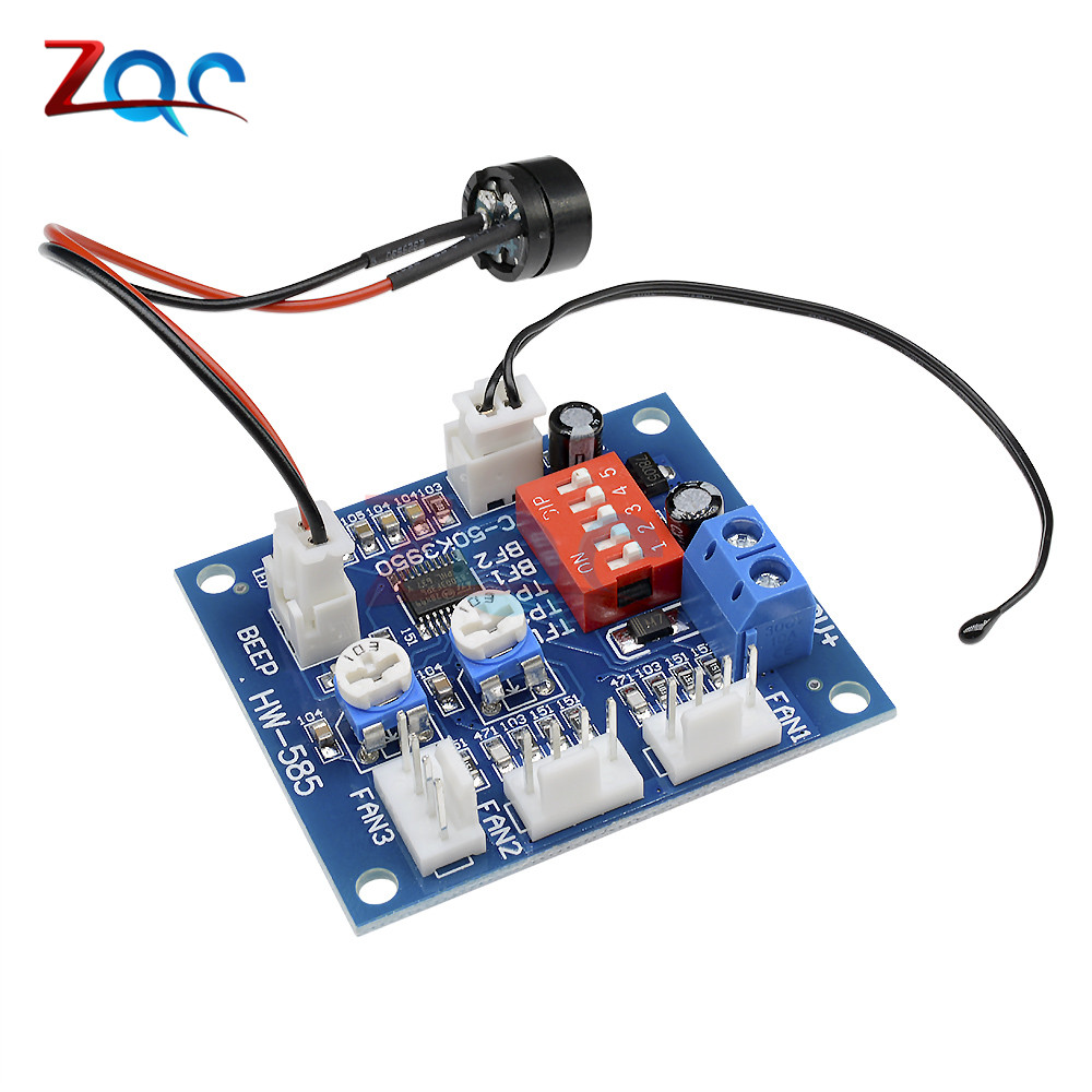 DC 12V 5A PWM PC Fan Temperature Manumotive Speed Controller Module CPU High-Temp Alarm With Buzz Probe For Arduino Heat Sink